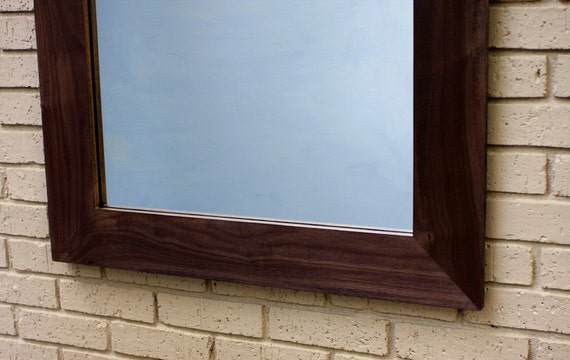 Walnut Framed Mirror, Dark Satin Clear Top Coat, 30 x 45 - Handmade