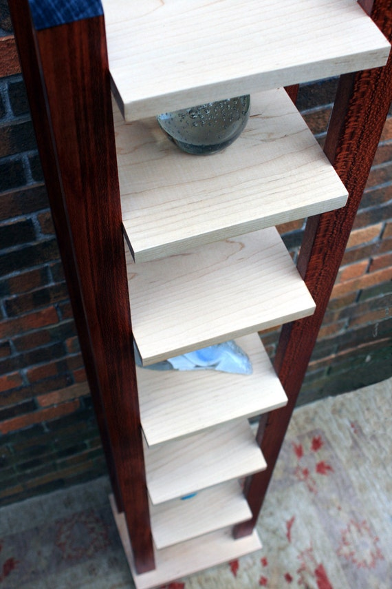 Display Tower / Bookcase, Contemporary, Maple & Sycamore, Gloss Clear Coat - Handmade