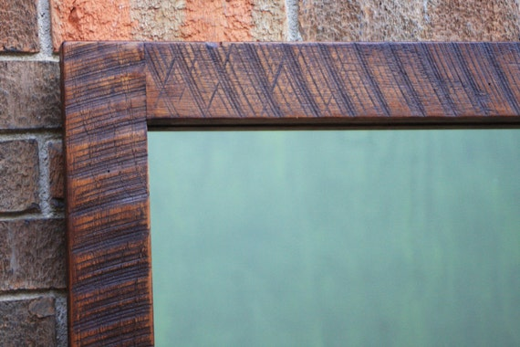 Reclaimed Wood Framed Mirror, Narrow Frame, Java Finish, 34 x 40 - Handmade - Reclaimed Wood Framed Mirror Narrow Frame Java Finish 34 X