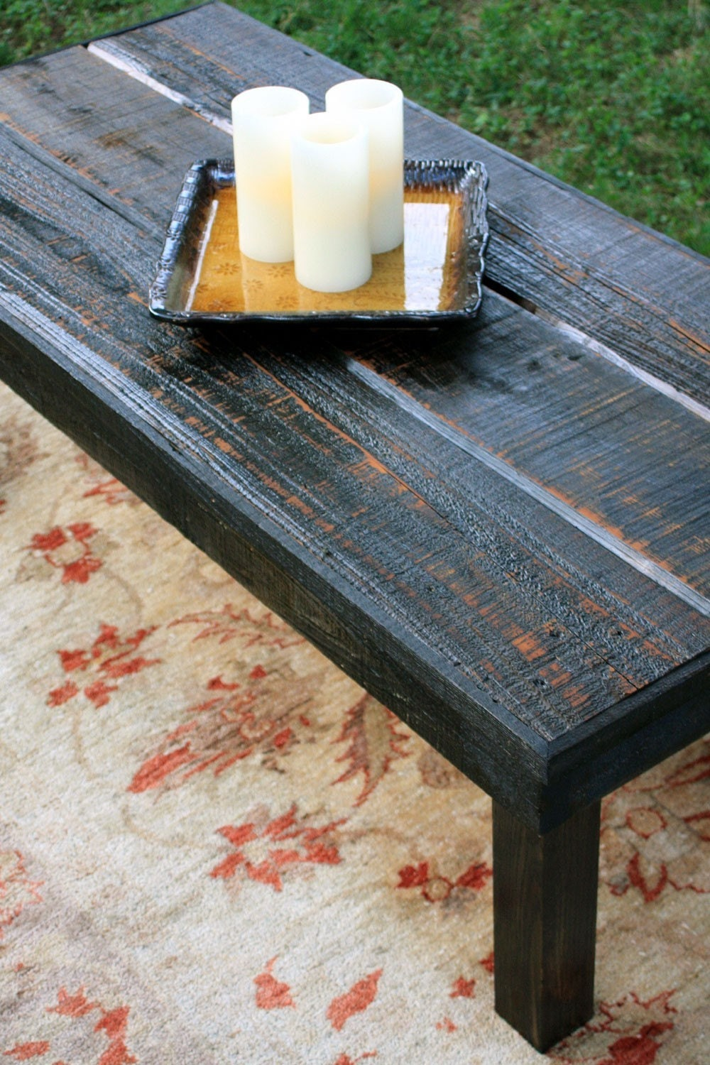 Large Coffee Table Reclaimed Wood Rustic Contemporary Black Amber