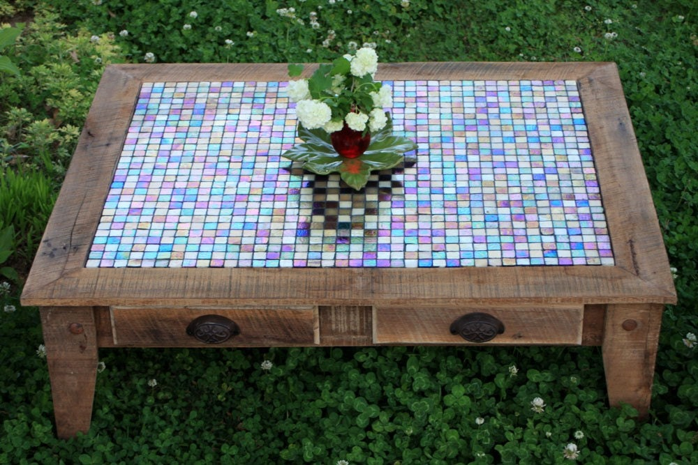 large coffee table tile mosaic reclaimed wood rustic