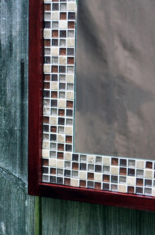 Tile Framed Bathroom Mirror: Glass Mosaic Tile Framed Mirror Brown Merlot Finish 30 X 36