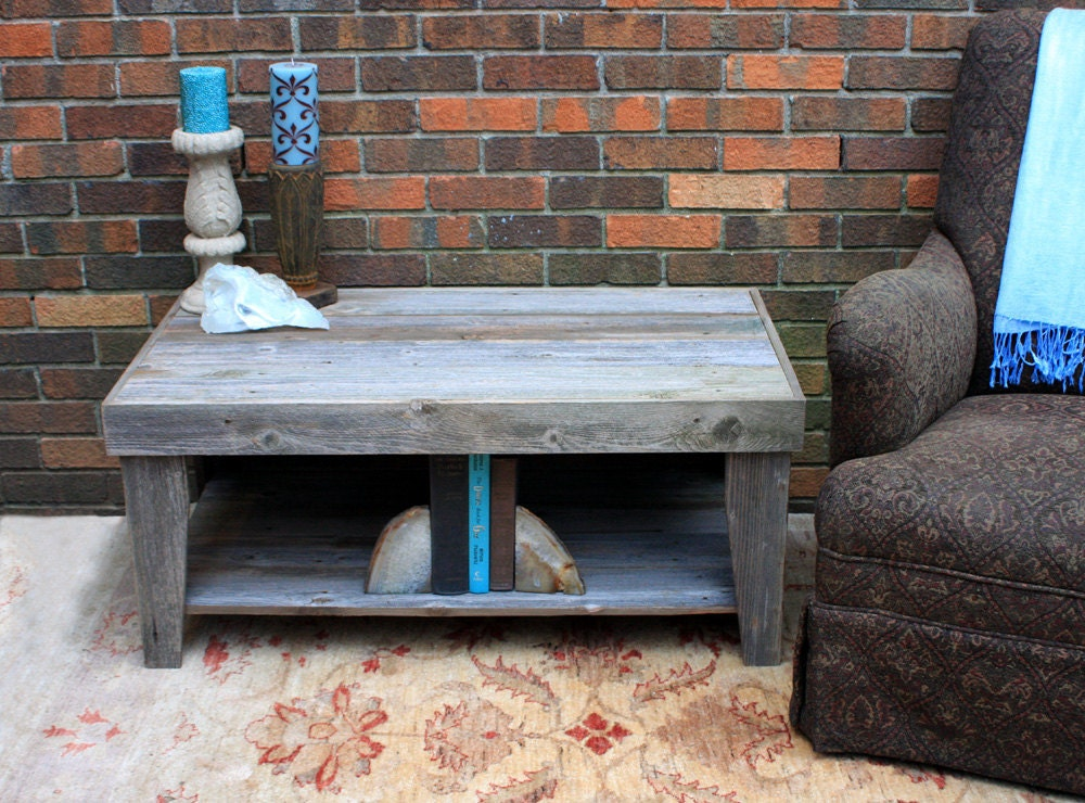 🔎zoom - Rustic Coffee Table With Shelf Reclaimed Wood Unfinished