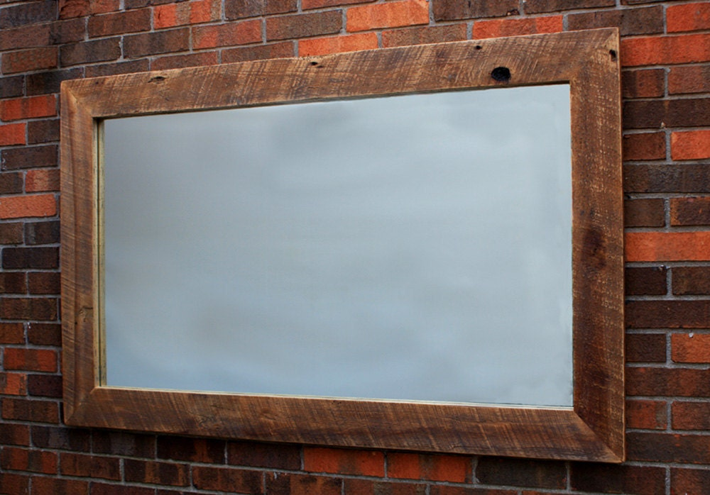Salvaged wood rustic framed mirror natural finish 34 x 54 for Wood framed mirrors