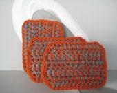 Quad Sponges - orange and grey - set of 3
