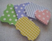 50 Gift Tags - made from cardstock - Pastel Poka Dots and Plaid