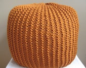 XL Large Knit Pouf - Rust - Not stuffed