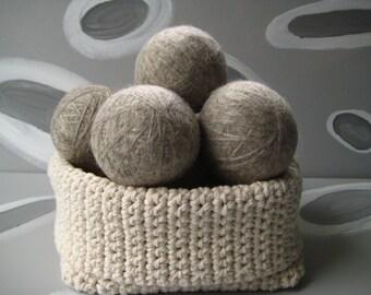 XL Large Dirty Girl Wool Dryer Balls set of 12 balls - 6 gray - 6 cream