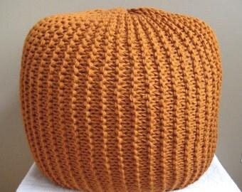 XL Large Knit Pouf - Rust - Not stuffed