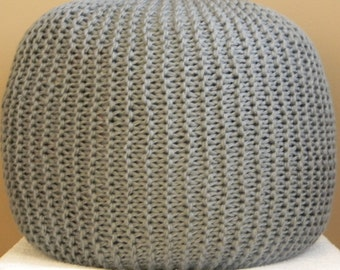 XL Large Knit Pouf - Silver Grey - Not stuffed