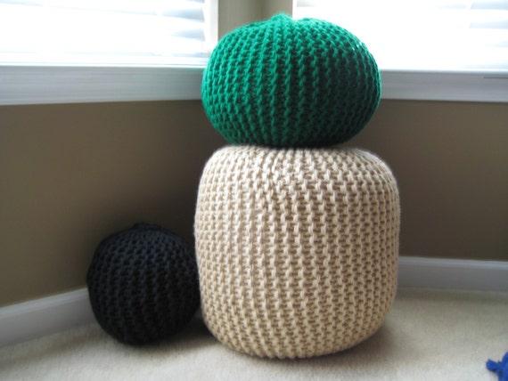 Large Knit Pouf - Lace - Not stuffed