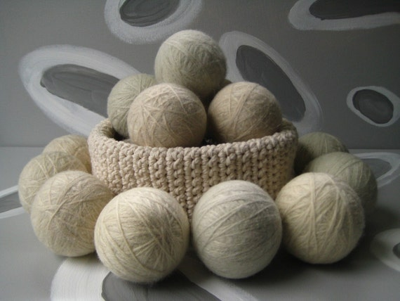 Extra Large Dirty Girl Wool Dryer Balls set of 6 - 3 cream color and 3 grey