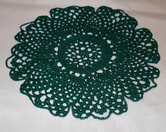 Hand crocheted lucky green Doily 9 inches diameter St. Patricks Day Irish