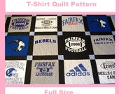 Tshirt Quilt Pattern PDF - E-Book - How to Make a T-Shirt Quilt - Full Size