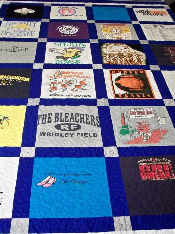 "Reserved for Megan Huntley - Memory TShirt Quilt King Size 98"" x 102"" (30 T-Shirts)"