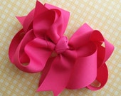 Hairbow Layered Boutique Hot Pink Large and Fluffy Layered Bow...Available in many colors
