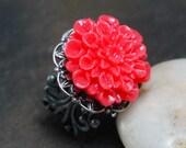 Red Poppy Steampunk Ring