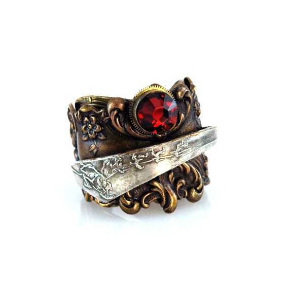 Steampunk Captain's Ruby Ring
