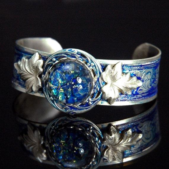 Steampunk Bracelet Cuff - Jewelry -  Silver Leaf with Blue Ice Confetti Cab Cuff