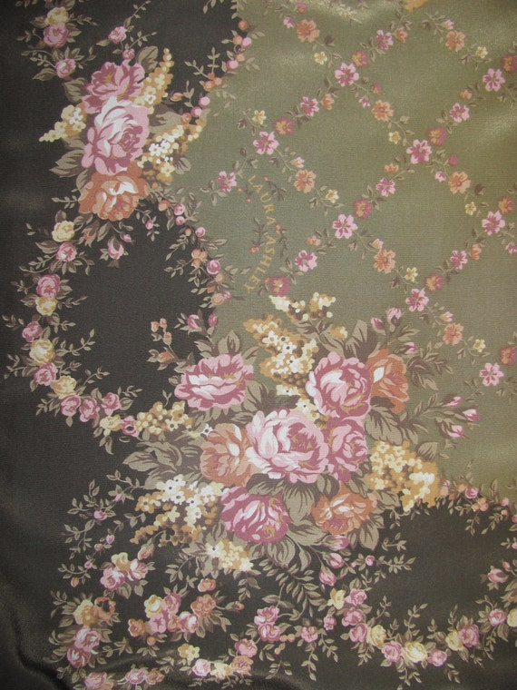 Vintage Laura Ashley Silk Scarf - Square with Beautiful Green and Pink Garden Colourway