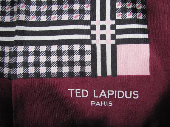 Vintage Ted Lapidus Paris Silk Scarf - Burgundy & Pink Plaid - Hand Rolled Hems