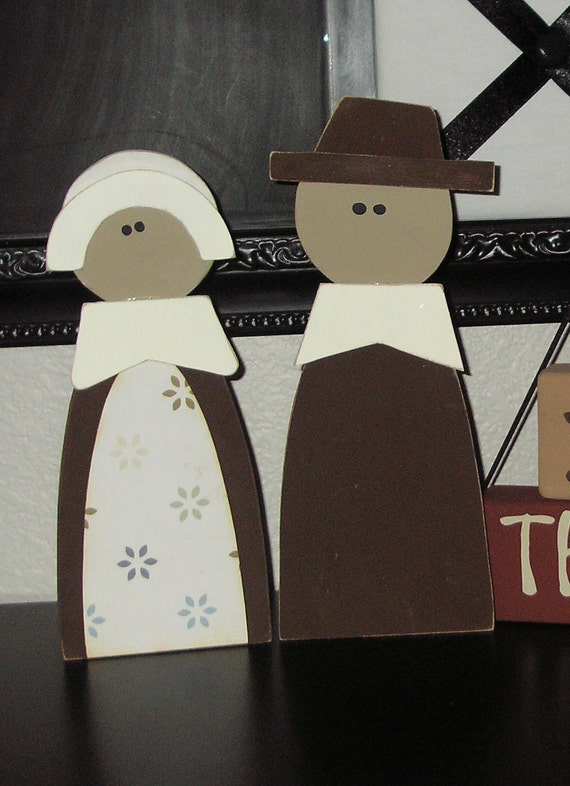 Items similar to Pilgrim Couple- Thanksgiving Decor, table ...