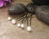 Bridal Glass Pearl Hairpins - Set of 5