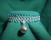 Chainmaille Collar with Silver  Bell in Turquoise and Silver