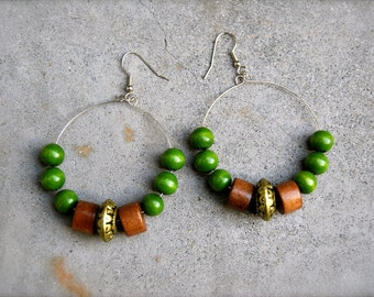 green life wooden hoop earrings