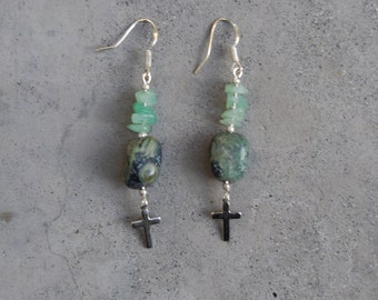 green malachite aventurine silver cross earrings