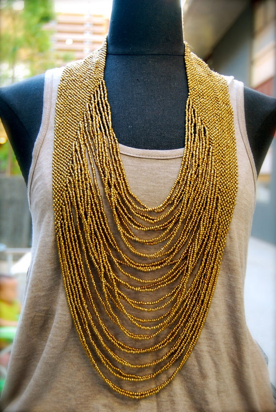 golden seed bead necklace