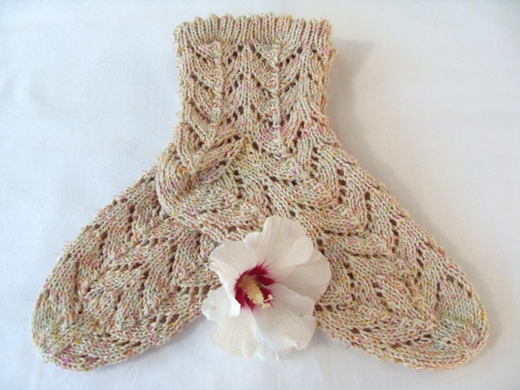 Handknitted Bed Socks - Summer Socks - cotton - nature