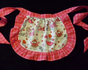 Little Girls Plaid Ruffle Trimmed Cotton Print Valentines Day Party Half Apron
