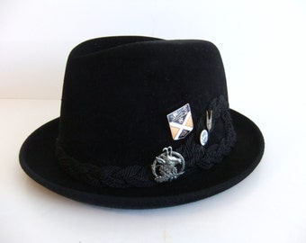 Vintage Black Hat Velour