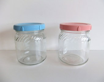 ON SALE Vintage Glass Jars Pink and Blue Covers