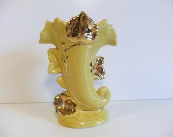 Art Deco Vase Yellow and Gold
