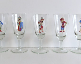 Vintage Liquor Glasses Turkish Shadow Theater Character Glasses