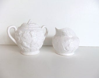 Vintage White Cream and Sugar Set // Grape Leaf Design