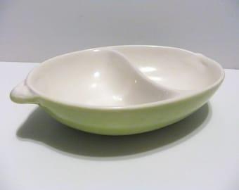 Vintage Handmade Ceramic  Divided Dish, 1966