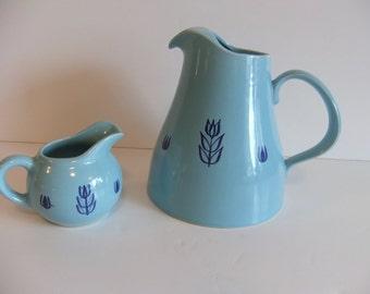 Vintage Blue Tulip Pitcher USA Pottery Vintage