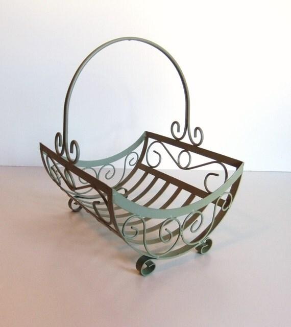 Vintage Metal Basket Sage Green
