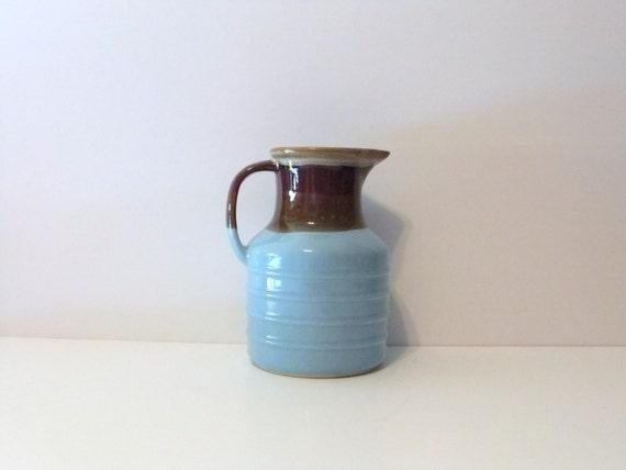 Vintage Stoneware Pitcher, Brown and Blue Jug, Juice Pitcher,