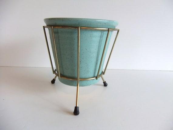 Vintage Ceramic Planter Robins egg blue