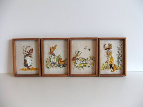 Vintage Needle Point Framed Art, Embroidered Wall Hangings