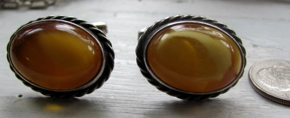 Vintage Antique Imported Sterling Silver and Yellow AMBER Cabochon Mens Cuff Links