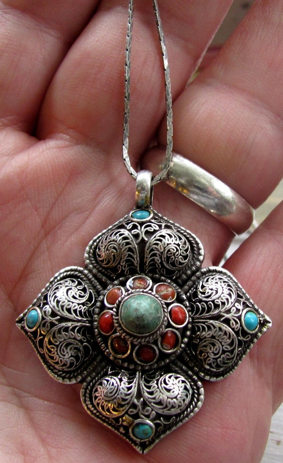 Antique Vintage Large Sterling Silver Native American Made Style Filigree Silver Pendant with Turquoise and Coral