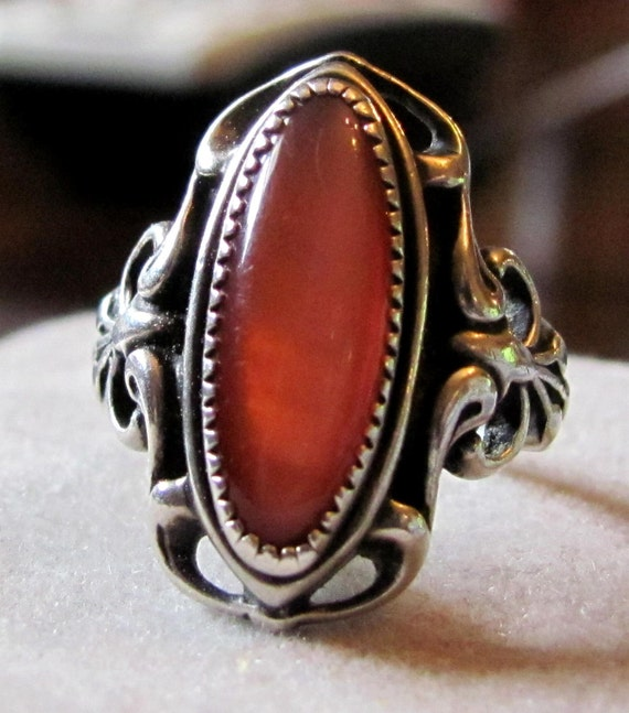 Vintage Sterling Silver and Deep Orange Chalcedony Gemstone Size 5 Hallmarked Ring