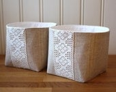 linen and lace -storage bin, set of 2 small