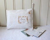 loveletters -organizer, embroidered fabric envelope