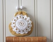 coin purse with vintage crocheted lace, yellow